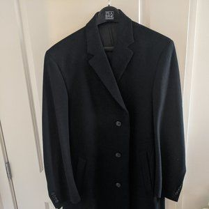 Jos A Bank Black Topcoat 42L